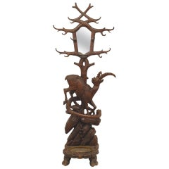 19th c. Continental Black Forest Carved Walnut Hatrack