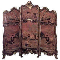 19th c. French Louis XV Style Painted and Gilt-Trimmed Folding Screen