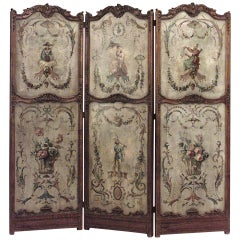 19th c. French Regence Style Painted Folding Screen