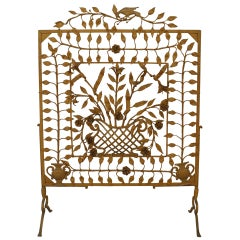 Large 19th c. American Painted Wrought Iron Fire Screen