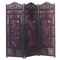 19th c. Middle Eastern Filigreed Folding Screen