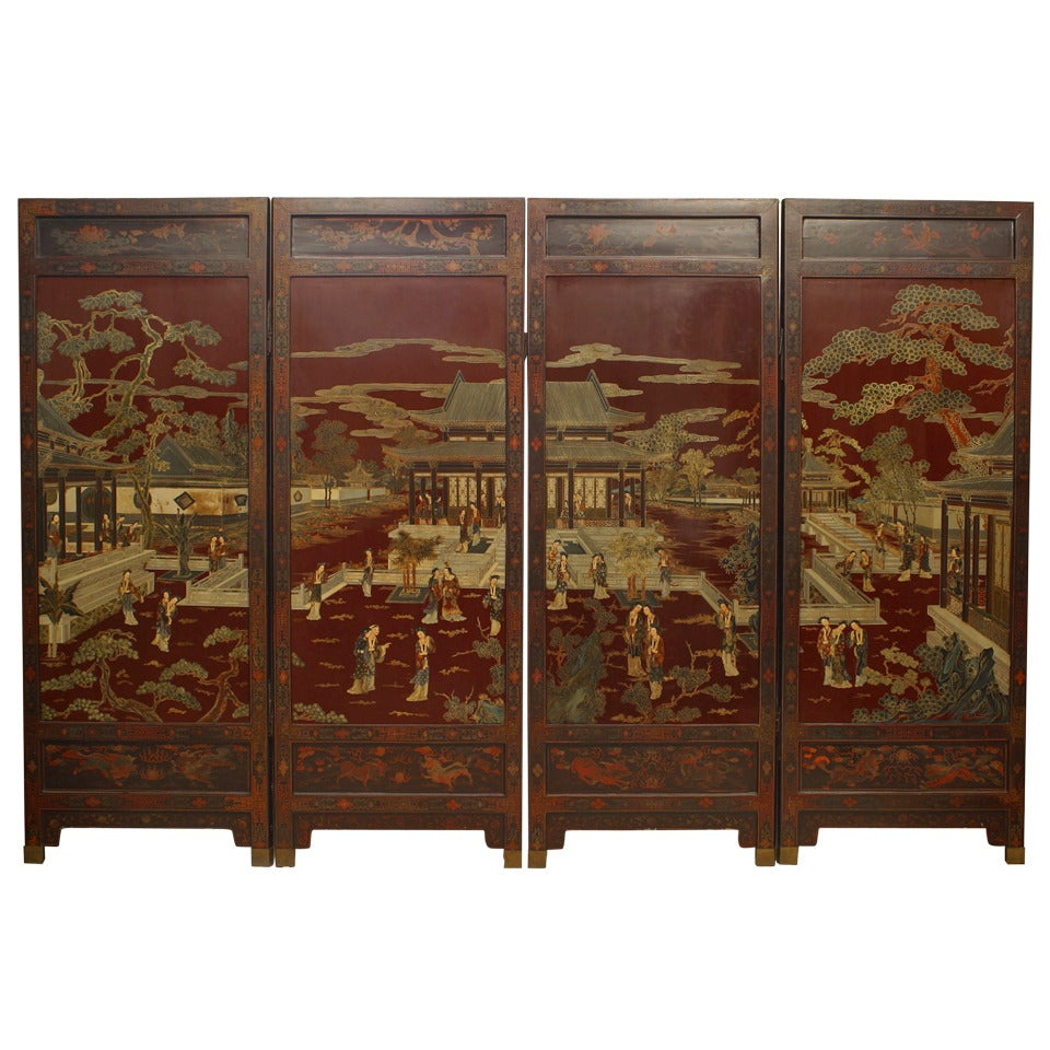 Chinese Quing Dynasty Red Lacquered 4-Fold Screen