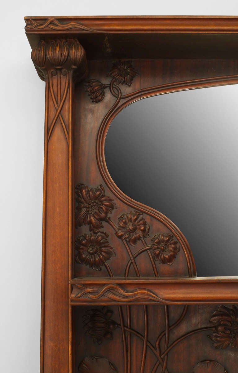 French Art Nouveau Carved Mantelpiece Attributed to Majorelle For Sale