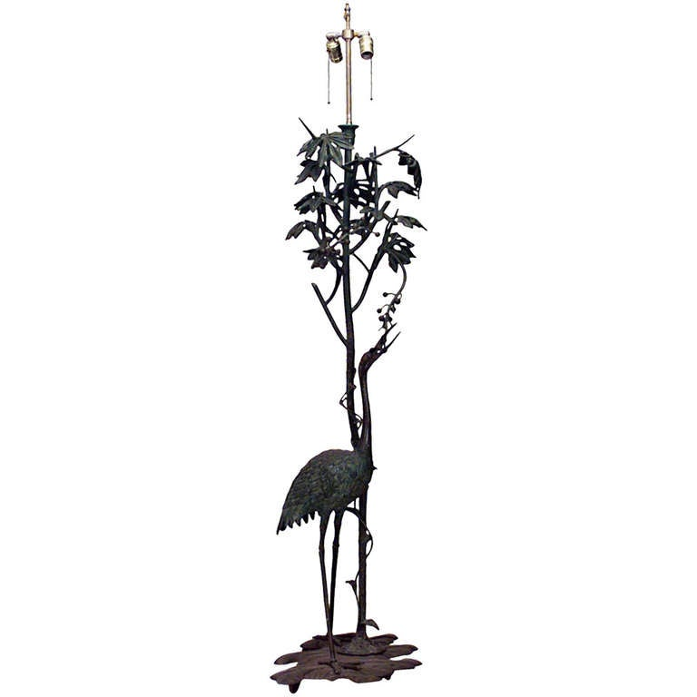 French Art Nouveau Tall Bronze Bird Floor Lamp For Sale at 1stdibs