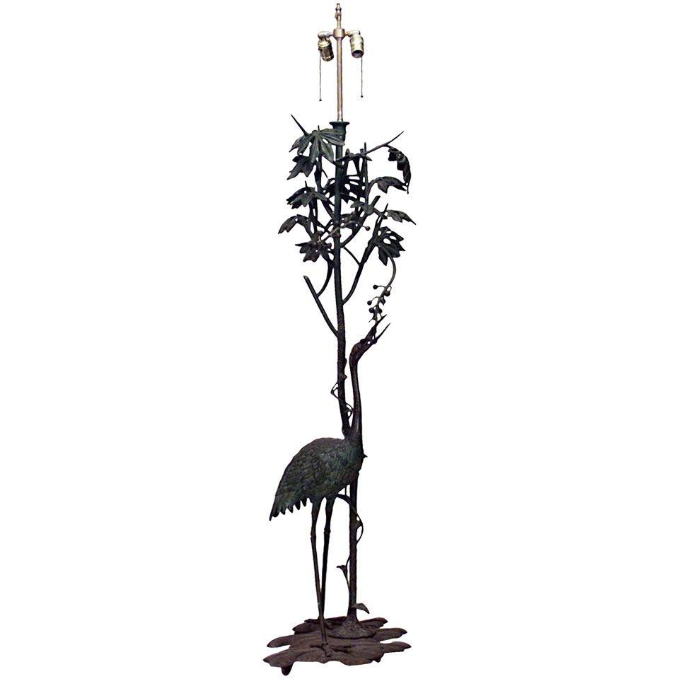 French Art Nouveau Tall Bronze Bird Floor Lamp