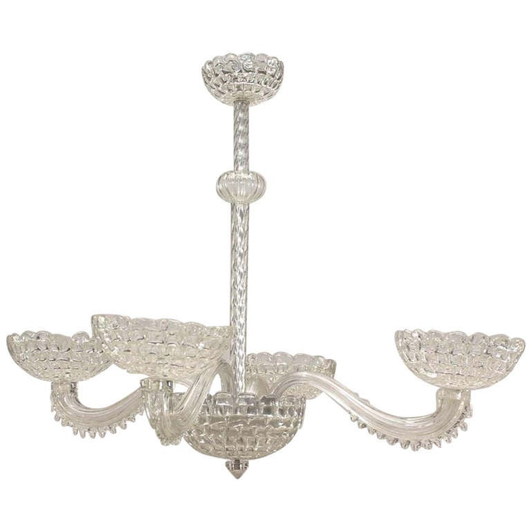 1940's Clear Murano Glass Chandelier Attributed to Barovier e Toso