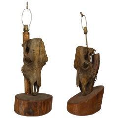 Pair of Rustic American Molesworth Table Lamps
