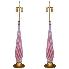 Pair of 1940's Swirled Murano Glass Table Lamps
