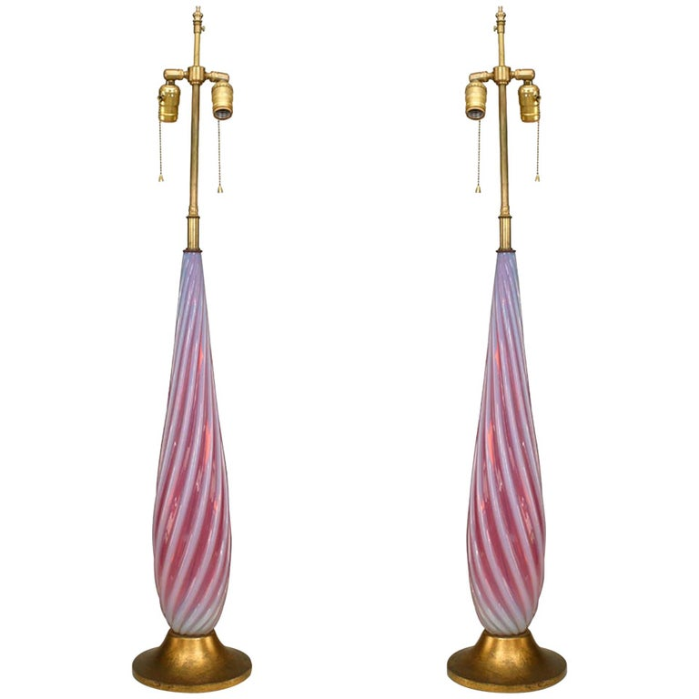 Pair of Italian Mid-Century Murano Pink Glass Table Lamps For Sale