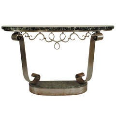French Art Deco Steel and Marble Console, Attrib. to R. Subes