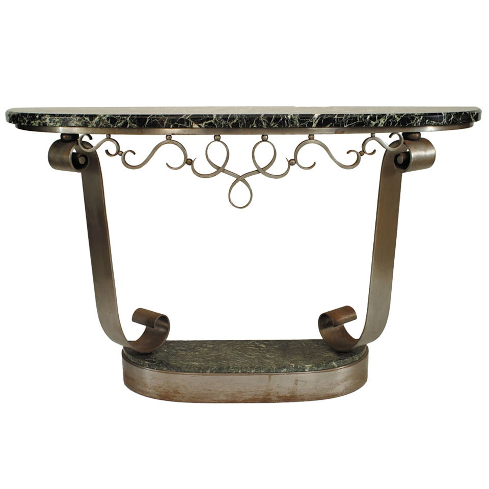 Raymond Subes French Art Deco Steel and Marble Console Table