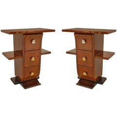Pair of French Art Deco Amboyna End Tables