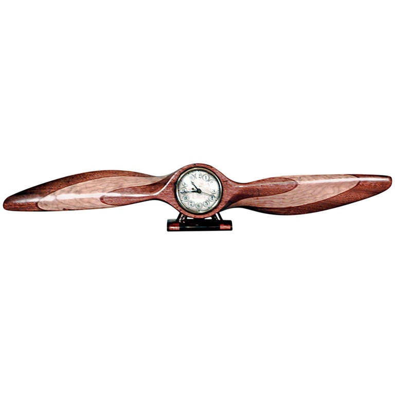 Art Deco Carved Propeller Clock by Waltham Electric