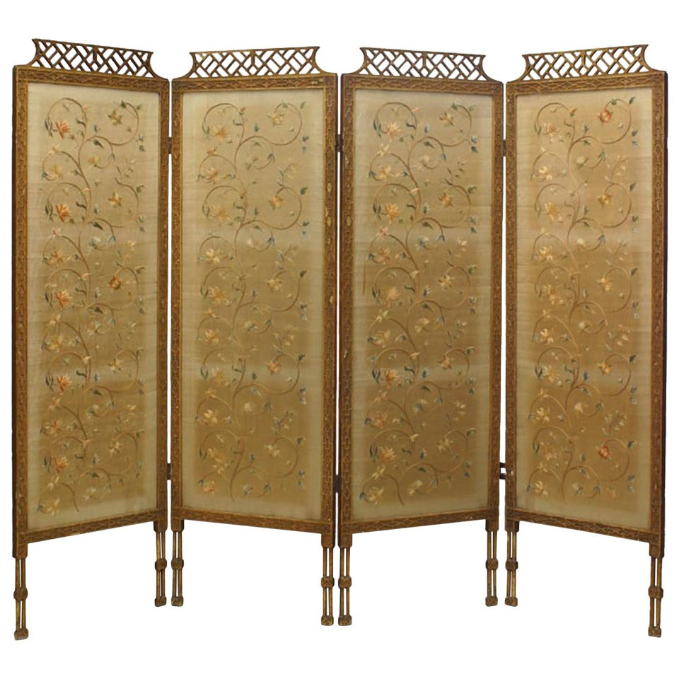 19th c. Chinese Chippendale Folding Screen