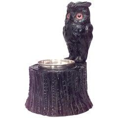 19th c. English Carved Owl Ashtray