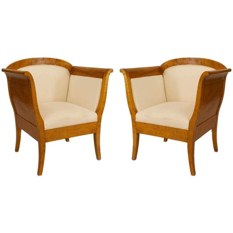 Pair of Swedish Biedermeier Upholstered Birch Bergeres