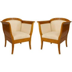 Pair of Swedish Biedermeier Upholstered Birch Bergeres