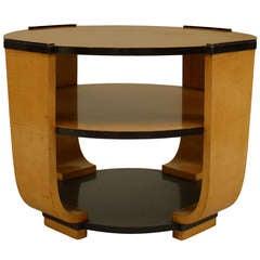 Italian Art Deco Round Bird's Eye Maple End Table