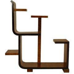 French Art Deco Walnut and Ebony Abstract Tier Table