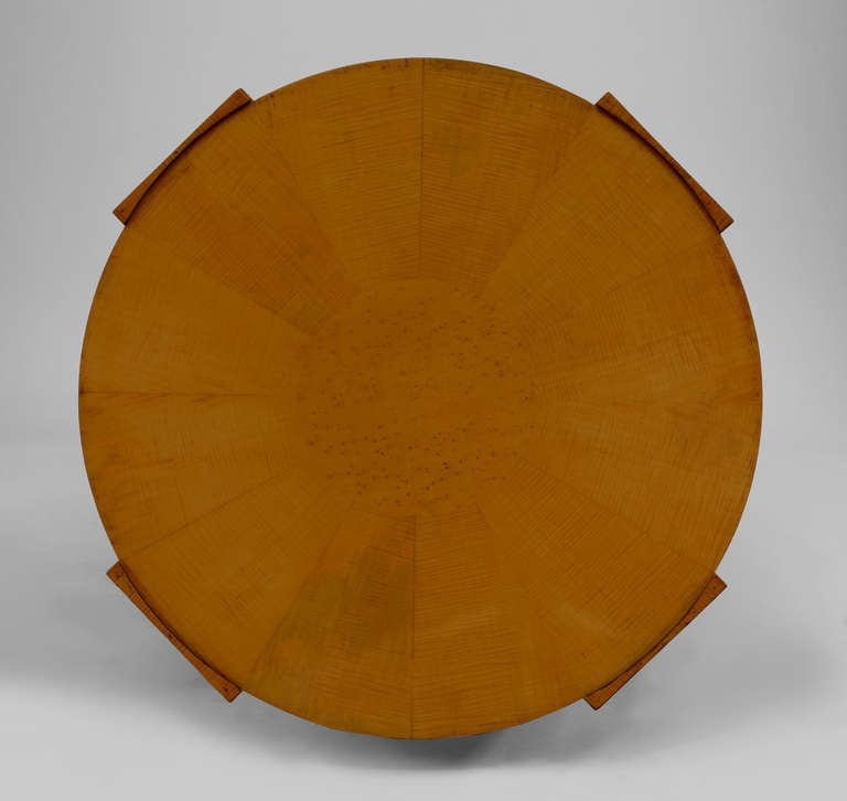 Italian Art Deco Round Bird S Eye Maple End Table At 1stdibs