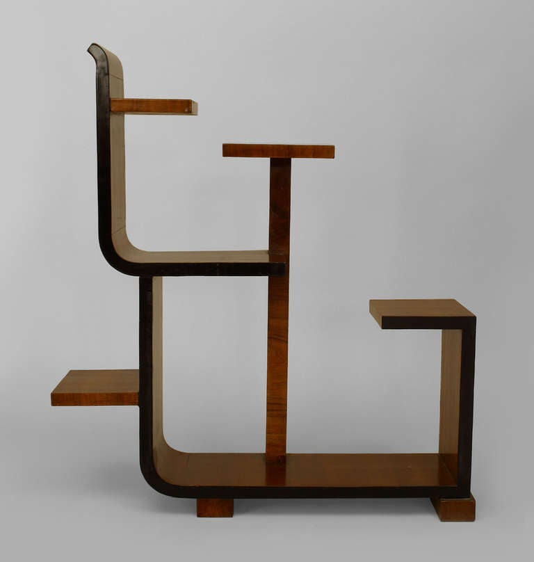 french art deco asymmetrical walnut etagere for sale at 1stdibs. Black Bedroom Furniture Sets. Home Design Ideas