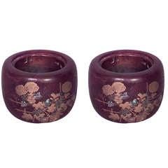 Pair of Turn of the Century Japanese Inlaid Wood Jardinieres