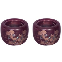 Pair of Turn of the Century Japanese Inlaid Wood Jardinieres