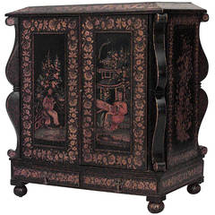 19th c. Dutch Lacquered and Stenciled Two Door Commode