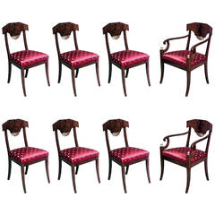 Set of 8 Early 19th c. Russian Neoclassical Parcel Gilt Dining Chairs