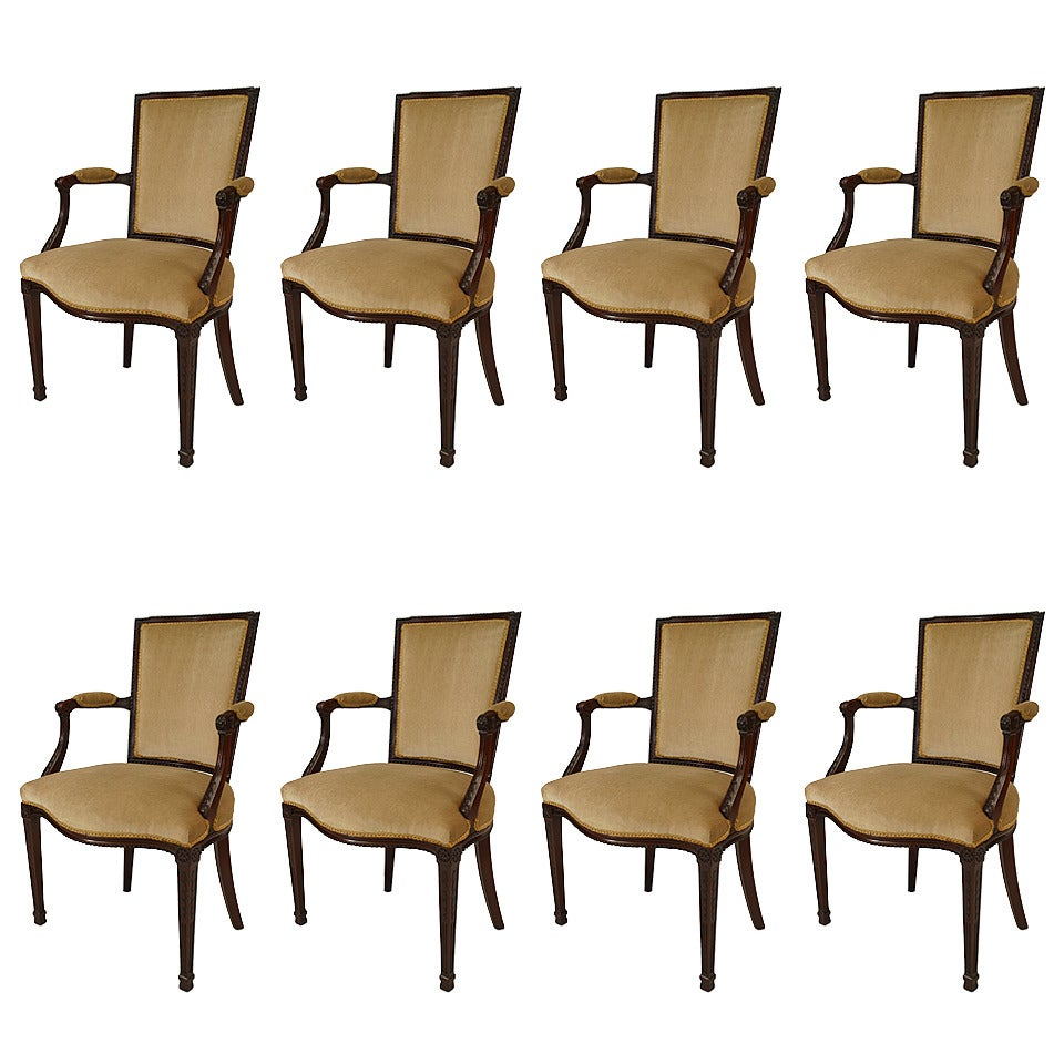 Set of 8 19th c. English Adam Style Mahogany Dining Armchairs