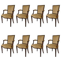 Set of 8 19th c. English Adam Style Dining Armchairs