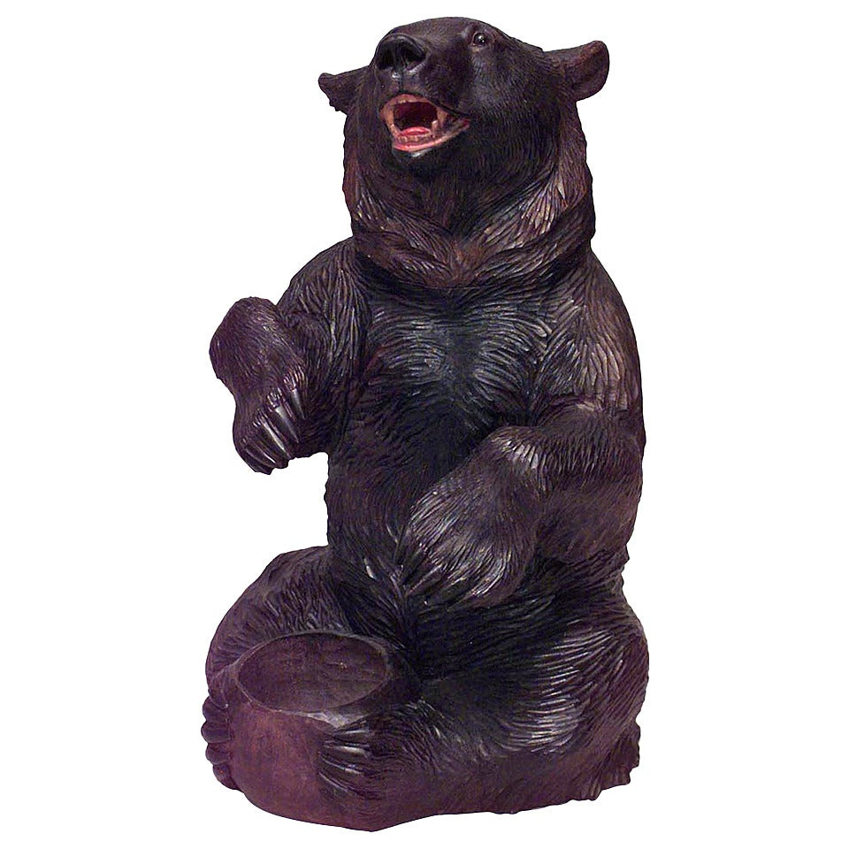Rustic Black Forest Carved Walnut Bear Ashtray