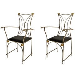2 French Art Deco Style Brass-Trimmed Steel Armchairs from Cartier Model