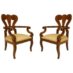 Pair of Austrian Biedermeier Carved Cherrywood Armchairs, c. 1830
