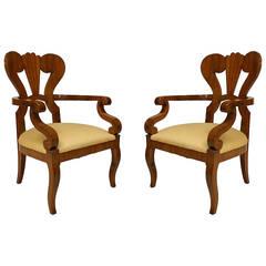 Pair of Austrian Biedermeier Carved Cherrywood Armchairs, c. 1830