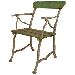 3 Outdoor English Painted Iron Faux Twig Armchairs