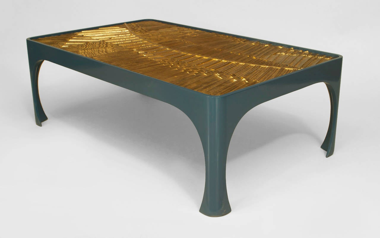 1970s American Inset Gilt Resin And Lacquered Wood Coffee Table For Sale At 1stdibs