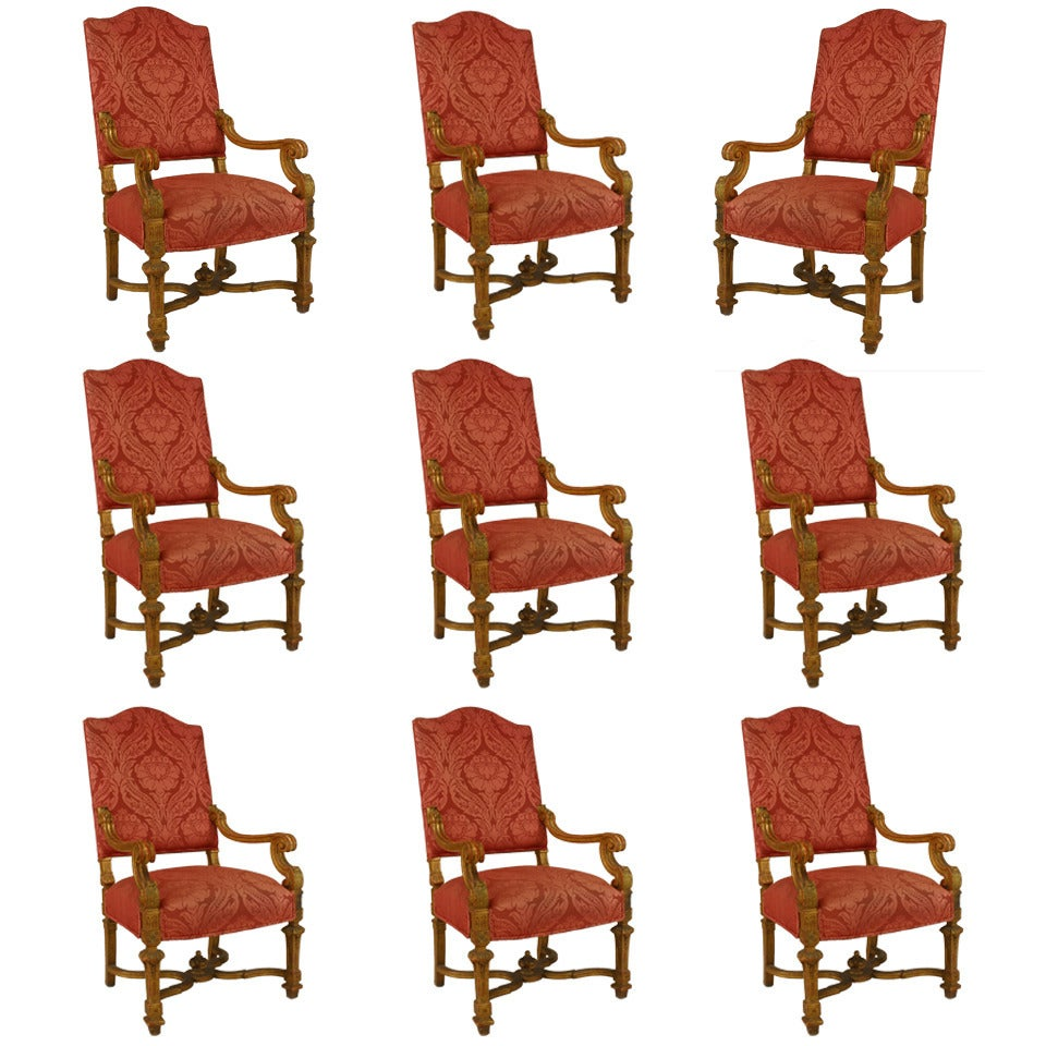 Set of 9 19th c. French Louis XIV Upholstered Giltwood Chairs