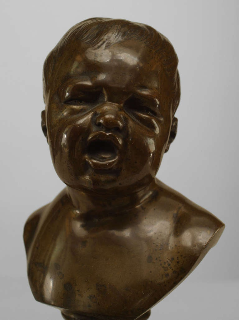 Pair of 19th Century French Bronze Infant Busts For Sale 1