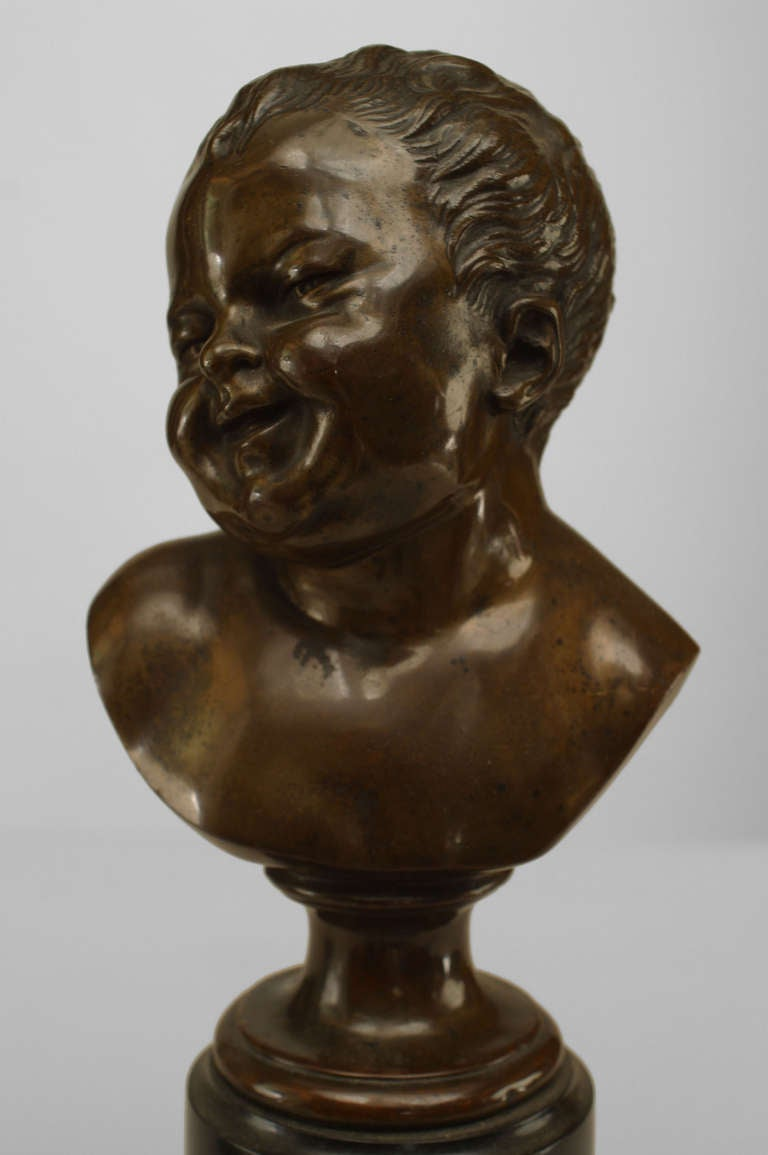 Pair of 19th Century French Bronze Infant Busts For Sale 2