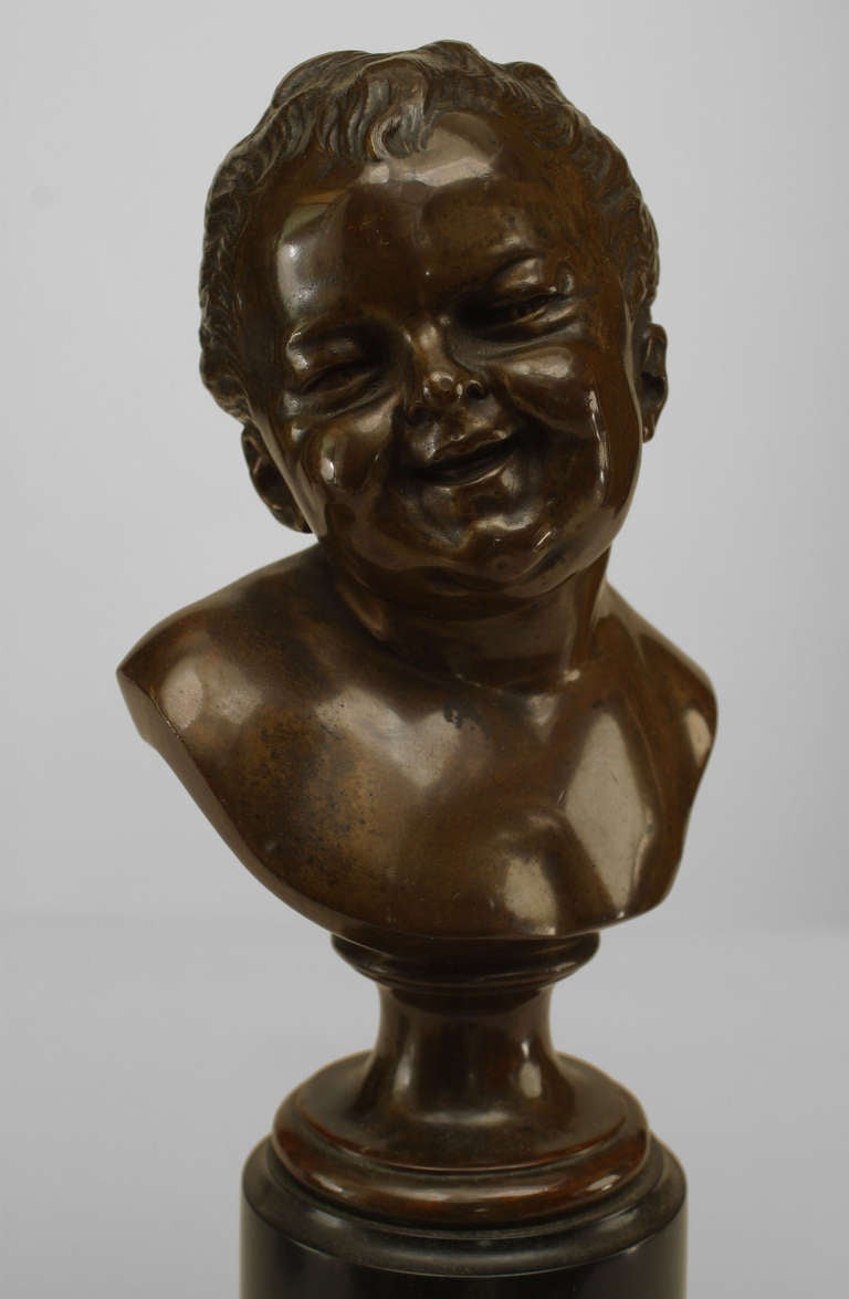 Pair of 19th Century French Bronze Infant Busts For Sale 3