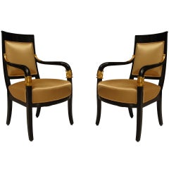 Pair of Austrian Biedermeier Armchairs, c. 1st Quarter of the 19th Century