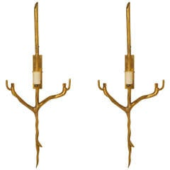 Pair of 1970s Gilt Bronze Twig-Form Sconces