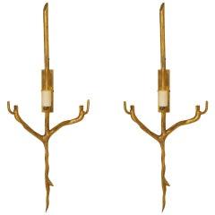 Pair of 1970s Gilt Bronze Twig-Form Sconces