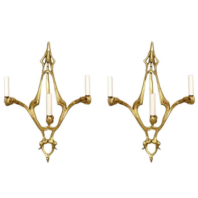 Pair of Art Nouveau Bronze Dore Wall Sconces