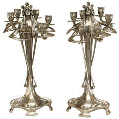 Pair of Silvered Pewter Art Nouveau Candelabra by Achille Gamba