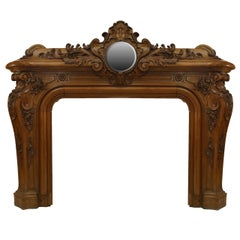 Important Largescale 19th C. Louis XV Style Mirrored Mantelpiece
