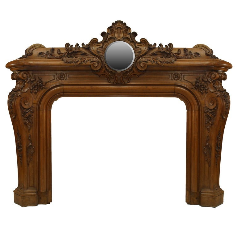 Important Largescale 19th C. Louis XV Style Mirrored Mantelpiece For Sale