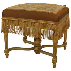 19th c. French Louis XVI Style Gilt Bench