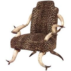 Rustic Continental Horn & Leopard Arm Chair